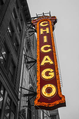 Chicago Theater Selective Color Poster