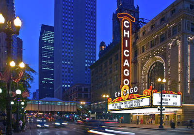 Chicago Theatre Marquee At Night Poster