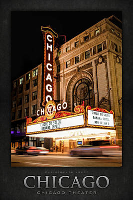 Chicago Theatre Marquee Sign At Night Poster Poster by Christopher Arndt