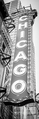 Chicago Theatre Sign Black And White Panorama Poster
