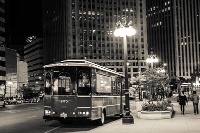 Chicago Trolly Stop Poster by Melinda Ledsome