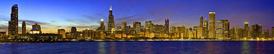 Chicago Ultrawide Panorama Sunset Poster by Donald Schwartz