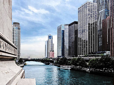 Chicago - View From Michigan Avenue Bridge Poster by Susan Savad