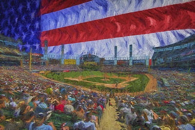Chicago White Sox Us Cellular Field Flag Digitally Painted  Poster by David Haskett