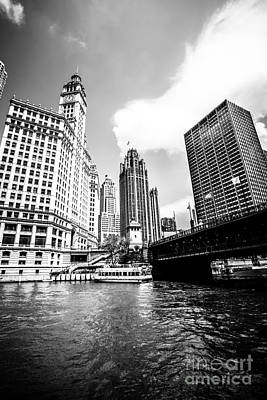 Chicago Wrigley Tribune Equitable Buildings Black And White Phot Poster by Paul Velgos