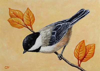 Chickadee And Autumn Leaves Poster by Crista Forest