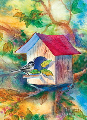 Chickadee Bungalow Poster by Teresa Ascone