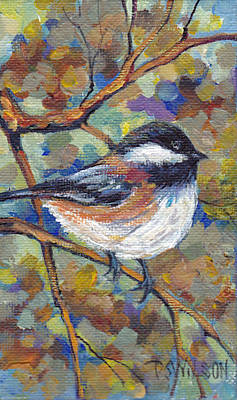 Chickadee With Coppery Branches Poster by Peggy Wilson
