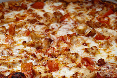 Chicken And Diced Tomato Pizza 2 Poster by Andee Design
