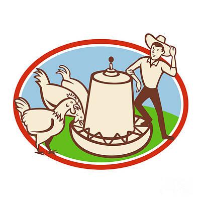 Chicken Farmer Feeder Cartoon Poster by Aloysius Patrimonio