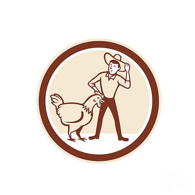 Chicken Farmer Feeder Circle Cartoon Poster by Aloysius Patrimonio