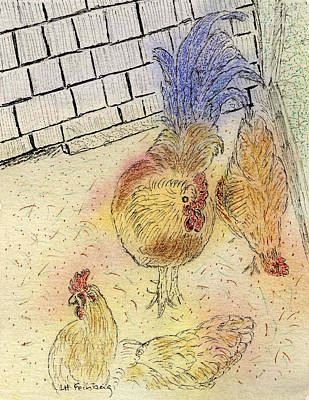 Chickens At Pei Poster