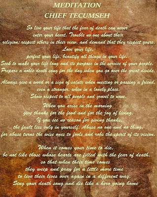 Chief Tecumseh Poem Poster by Dan Sproul