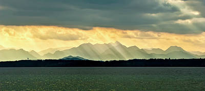 Chiemsee, Germany, Sunrays Poster by Sheila Haddad