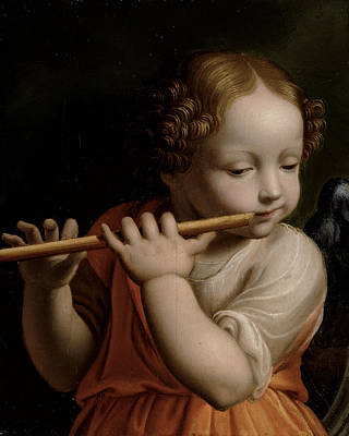 Child Angel Playing A Flute, C.1500 Poster