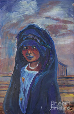 Poster featuring the painting Child Bride Of The Sahara by Avonelle Kelsey
