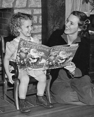 Child Reading A Christmas Book Poster by E. Earl Curtis