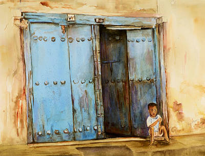 Poster featuring the painting Child Sitting In Old Zanzibar Doorway by Sher Nasser