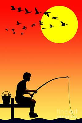 Childhood Dreams 3 Fishing Poster by John Edwards