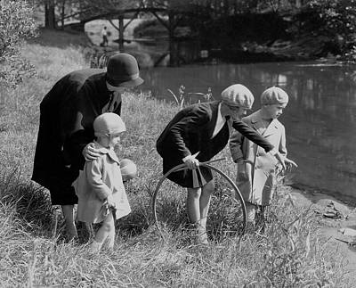 Children And Their Nanny Playing Poster