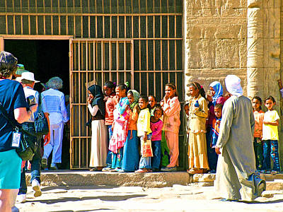 Children And Tourists At Entry To Temple Of Hathor In Dendera-egypt Copy Poster