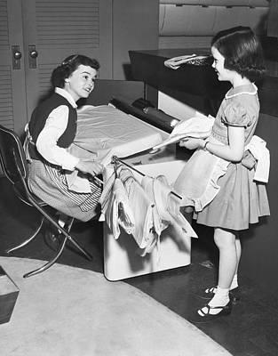 Children Doing Housework Poster