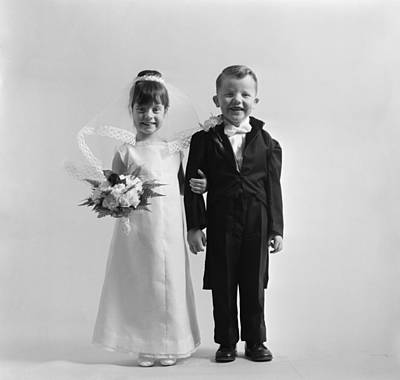 Children Dressed As Bride And Groom Poster