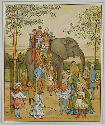 Children Riding An Elephant At London Zoo Poster