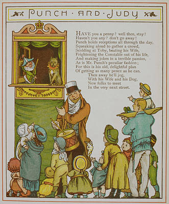 Children Watching A Punch And Judy Show Poster by British Library