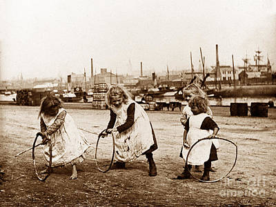 Children With Hoops And Sticks Scotland Poster