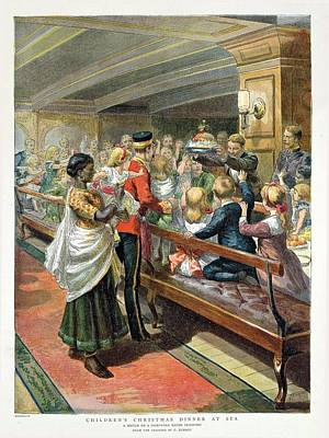 Childrens Christmas Dinner At Sea From The Graphic Christmas Number, 1889 Colour Litho Poster by Godefroy Durand