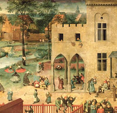Childrens Games Kinderspiele Detail Of Top Left-hand Corner Showing Children Spinning Tops Poster by Pieter the Elder Bruegel