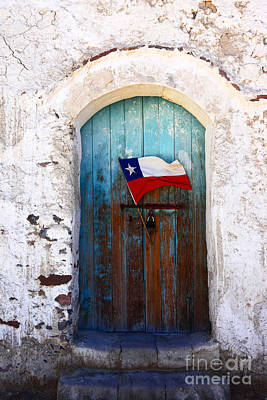 Chilean Flag On Church Door Poster by James Brunker