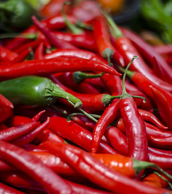 Chili Peppers At The Market Poster by Heather Applegate
