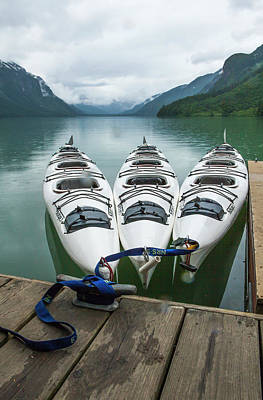 Chilkoot Lake, Kayaks At The Dock Poster by Michael Qualls
