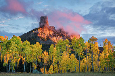 Chimney Rock At Sunset, From Owl Creek Poster