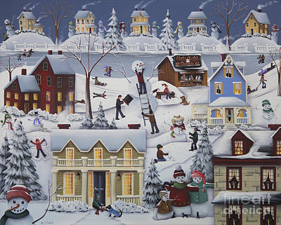 Chimney Smoke And Cheery Snow Folk Poster by Catherine Holman