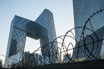 China, Beijing, Barbed Wire Surrounds Poster by Paul Souders