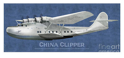 Poster featuring the drawing China Clipper Nc 14716 by Kenneth De Tore