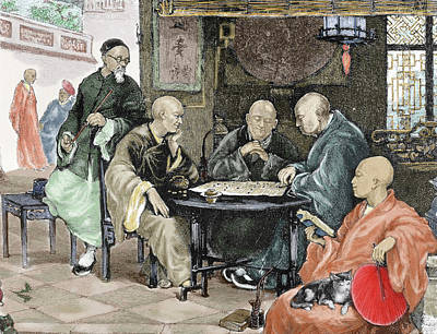 China Men Playing Draughts In A Tavern Poster