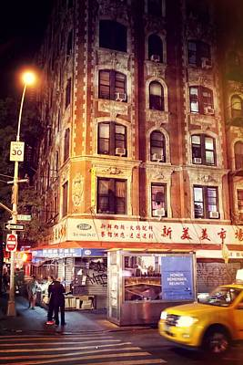 Chinatown In New York City At Night Poster