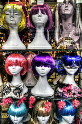 Chinatown San Francisco Colorful Wigs On Female Mannequin Heads  Poster
