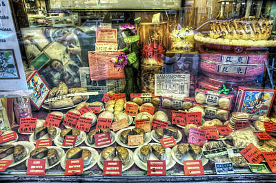 Chinatown Window Display Of Chinese Food  Poster