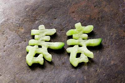 Chinese Characters Made From Cucumber Poster