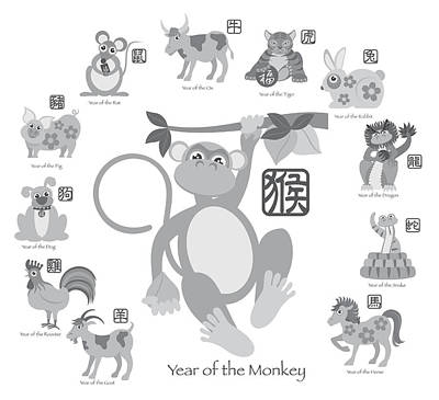 Chinese New Year Monkey With Twelve Zodiacs Illustration Poster by JPLDesigns