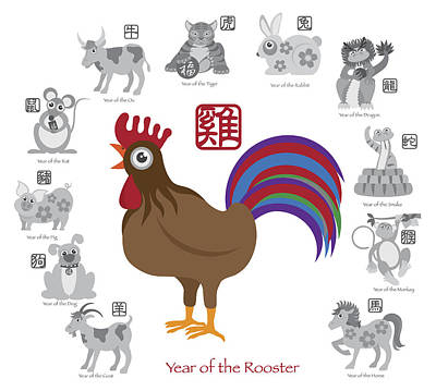 Chinese New Year Rooster Color With Twelve Zodiacs Illustration Poster by JPLDesigns