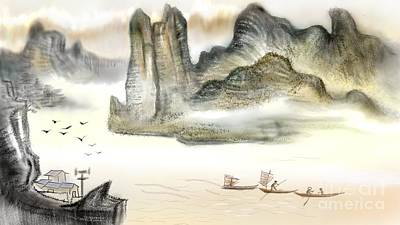 Chinese Painting On Computer Poster