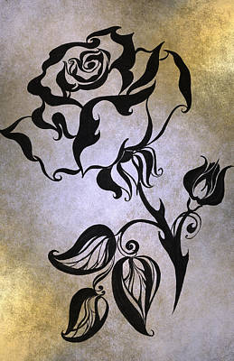 Chinese Rose. Golden Poster by Jenny Rainbow