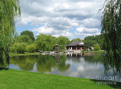 Chinese Tea Pavilion Near The Lake Poster by Kiril Stanchev
