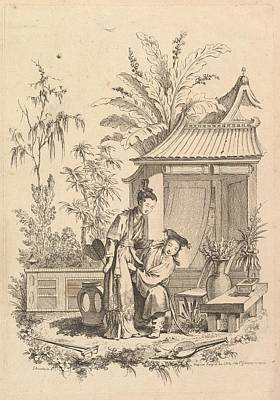 Chinoiserie Scene With Figures Poster by Gabriel Huquier